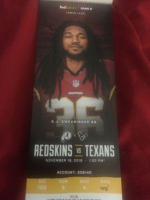 Redskins vs Texans for Sale in Washington, DC