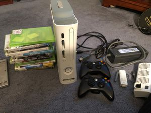 XBOX 360 with 2 Controllers, Intercooler, Wireless Adapter and 13 Games for Sale in Lumberton, NJ