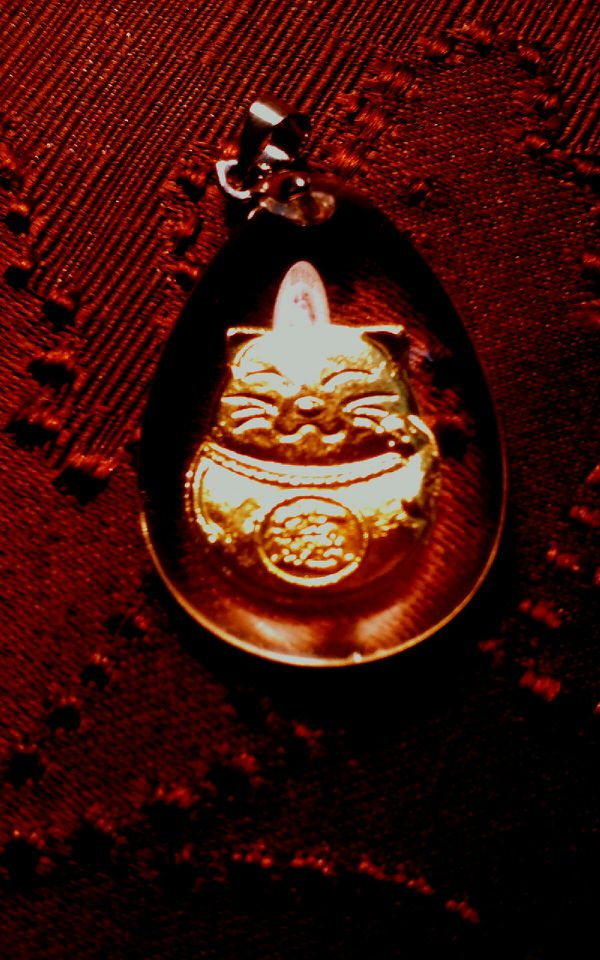 Solid 24kt. Gold Maneko Neko Cat in Acrylic Pendant