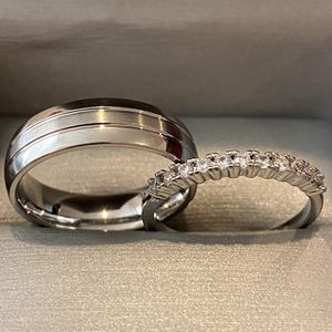 Sterling Silver Engagement / Promise / Wedding Ring Set - Code SMLP102 for Sale in Las Vegas, NV