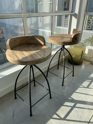 Set of (2) Arteriors Wood and Iron Counter Stools for Sale in San Francisco, CA