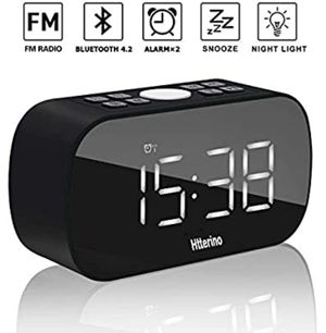 """Clock Radios Wireless Bluetooth Speakers Portable Alarm Clock with FM Radio Night Light 5"""" LED Digital Display Sleep Timer with Snooze Function Compa for Sale in Edison, NJ"""