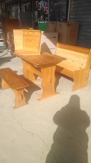 Dining room set bench table corner shelf and storage bench for Sale in Philadelphia, PA