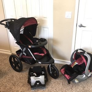 Babytrend Expedition GLX Jogger Stroller, Car seat, and Base for Sale in Mesa, AZ