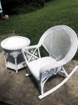Vintage wicker rocker and stand $100 for Sale in Richmond, VA