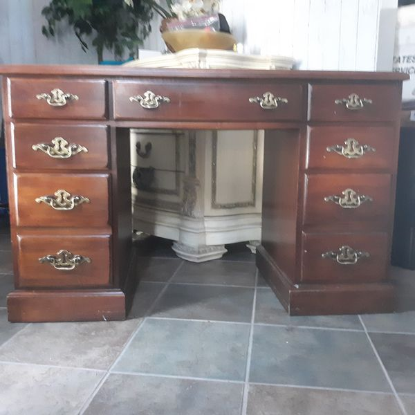Vintage office desk with leather top