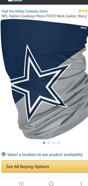 Brand New NFL Dallas Cowboys Football Gray Blue White Star Scarf Face Covering Mask Cover $18.00 for Sale in Gardena, CA