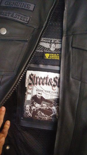 """Street & Steel"" Black leather motorcycle vest for Sale in Largo, FL"