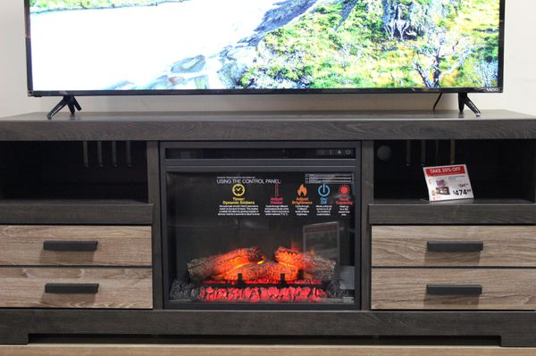 TV Stand with Fireplace , Grey