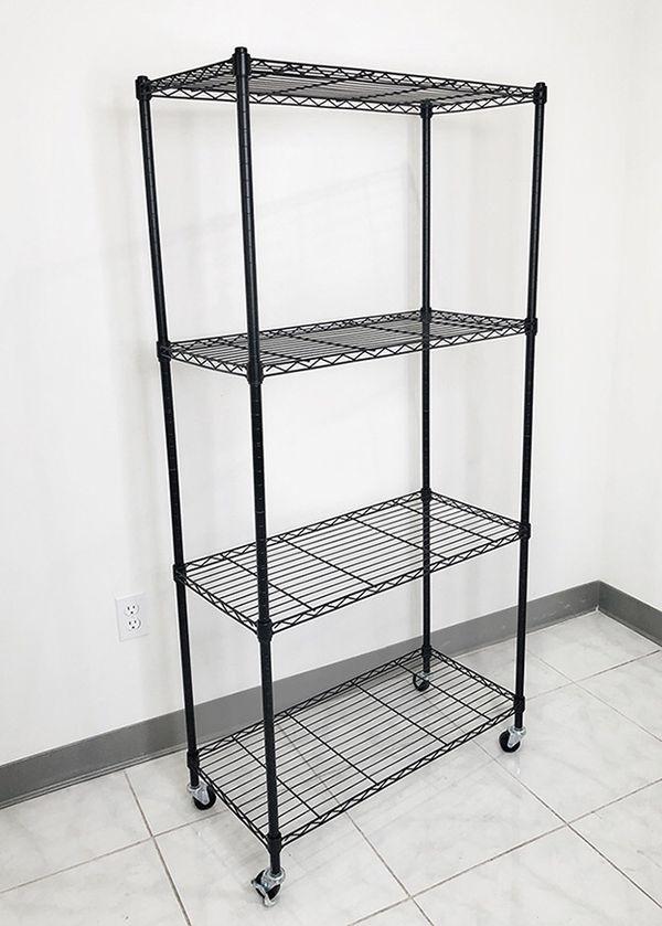"""(New in box) $50 Metal 4-Shelf Shelving Storage Unit Wire Organizer Rack Adjustable w/ Wheel Casters 30x14x61"""""""