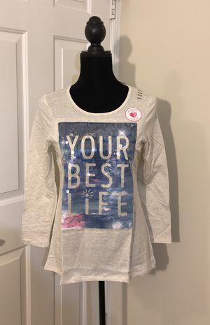 "NWT Justice ""Your Best Life"" Shirt..Girls Size 14/16...RTP. $26 Cream With Reversible Sequins... for Sale in Virginia Beach, VA"