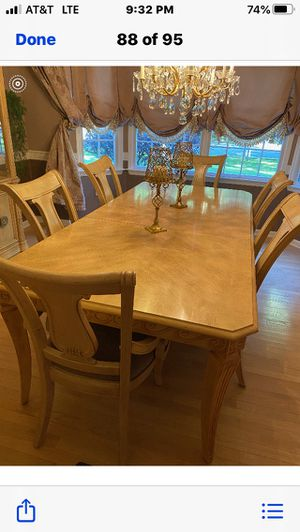 Bernhardt Dining room set Table Two leafs , Six chairs and China closet for Sale in Monroe Township, NJ