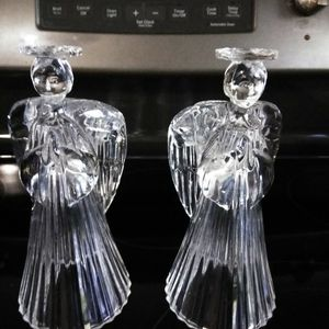 Antique Heavy Pressed Glass Angel Candle Holders for Sale in Winter Haven, FL