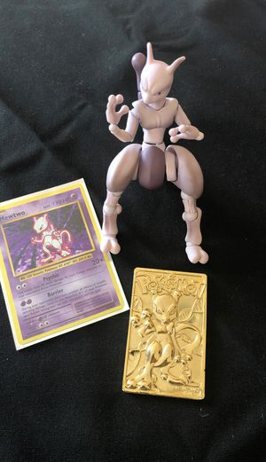 Mewtwo Pokémon figurine, card and gold card for Sale in Elk Grove, CA
