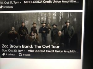 Zac Brown Band : The Owl Tour 4 Tickets For Sale for Sale in Orlando, FL