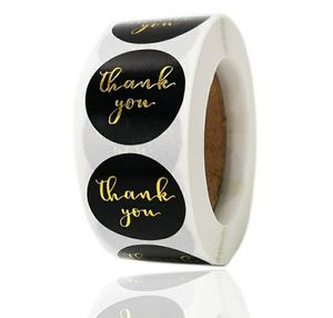"1"" THANK YOU STICKERS ROLL BLACK GOLD for Sale in Los Angeles, CA"