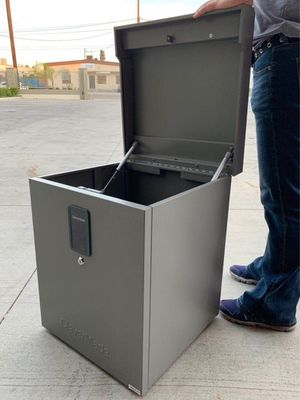 New in box 18x18x22 inch tall parcel package safe storage locker with digital security digital lock or key safe tool box for Sale in Whittier, CA