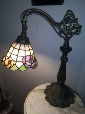Antique lighting metal lead slag table lamp moveable swing cast iron bridge arm bronze for Sale in Big Rock, TN