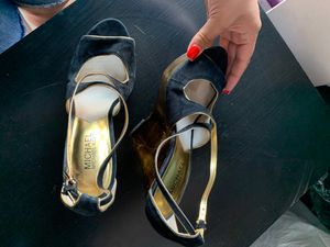 Michael Kors, wedges, gold and black, size 9 1/2 for Sale in San Jacinto, CA