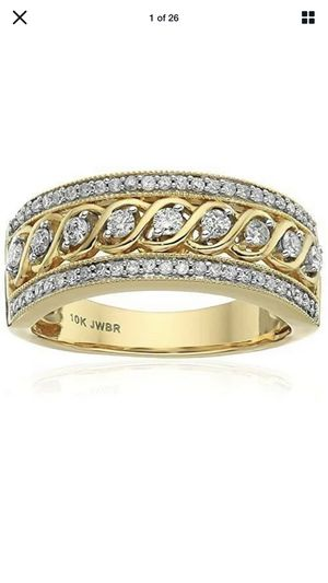 10K Yellow Gold Filled White Topaz Infinity Ring Wedding Women Jewelry Band Gift for Sale in Stockton, CA