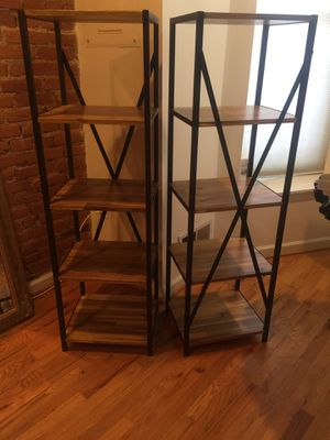 Two wooden five-layer bookshelves for Sale in Washington, DC