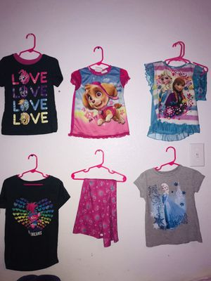 Girls 5/6 clothes shirts pajamas Trolls paw patrol Frozen for Sale in Garland, TX