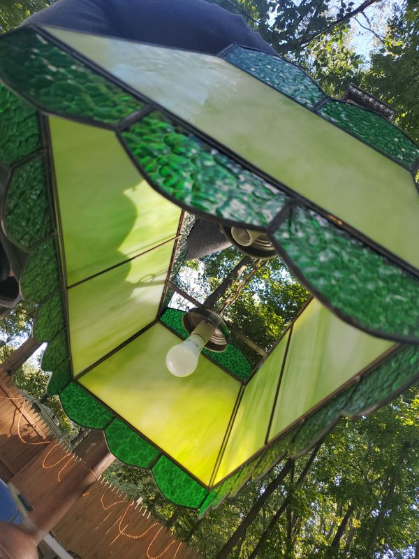 Stained Glass Hanging Double Light Fixture