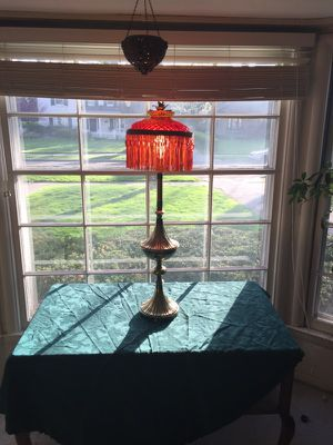 Vintage brass base and cut glass shade for Sale in Grosse Pointe, MI