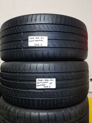 (2) USED TIRES 265/35ZR21 CONTINENTAL CONTISPORTCONTACT 5p 265/35R21 AUDI TESLA PORSCHE 265 35 21 for Sale in Fort Lauderdale, FL