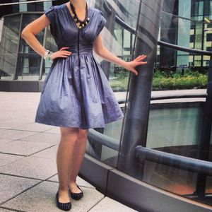 Love...ady denim dress size Xsmall zipper front, full skirt, form fitted elastic waist, NWT for Sale in Phoenix, AZ