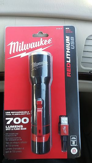 Milwaukee redlithium USB 700 lumen spot and flood beam has a lifetime limited warranty for Sale in Asheville, NC