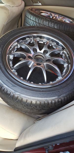 BMW brigestone potenza wheels and adepters for honda or acura for Sale in Franklin Township, NJ