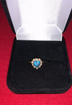 Beautifull 14K Gold Blue Topaz Heart Ring & Diamond Accent. Size 6.5 for Sale in Ontario, CA