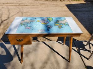 Desk with map top 1960s for Sale in Victorville, CA