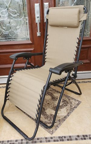 EXCELLENT CONDITION Indoor/Outdoor Tan Color Adjustable Back Heights Gravity Extendable Chaise Lounger Armchair Chair + Head Rest Cushion INCLUDED for Sale in Monterey Park, CA