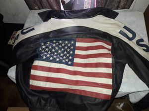 USA LEATHER JACKET Harley and Eagle patched! for Sale in Encino, NM