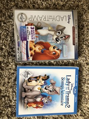 2 brand new lady and the tramp movies for Sale in Riverside, CA