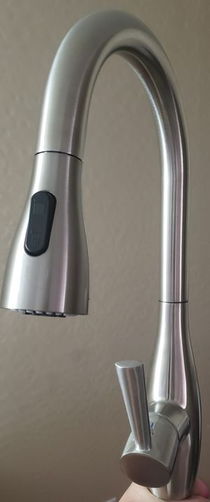 NEW Modern High Arc (TOUCH ON) Brushed Stainless Steel Kitchen Faucet Solid Brass with Pulldown Sprayer and Deckplate for Sale in Phoenix, AZ