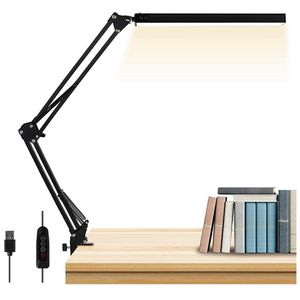 LED Desk Lamp, AXUF Metal Swing Arm Desk Lamp with Clamp, Eye-Caring Modern Architect Task Lamp, Dimmable Office Table Lamp with 3 Color Modes 10 Brig for Sale in La Palma, CA