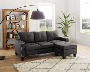 STEEL GREY LINEN LIKE FABRIC SECTIONAL REVERSIBLE CHAISE SOFA COUCH for Sale in Westchester, CA