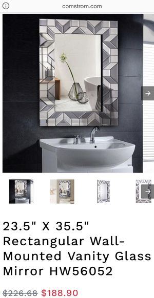 Rectangular Wall-Mounted Vanity Glass Mirror for Sale in Riverside, CA