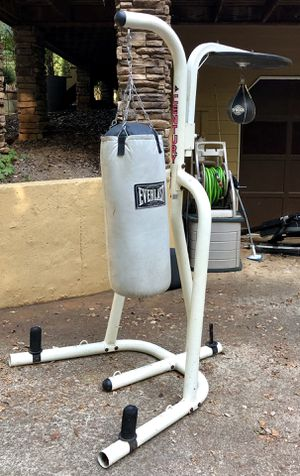 Everlast pro punching bag/stand and speed bag. Gloves included $150 for Sale in Acworth, GA