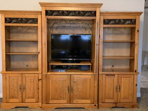 3 piece solid wood entertainment center WITH TV for Sale in Kaysville, UT