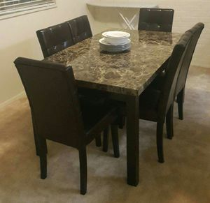 Brand New 7 Piece Faux Marble Dining Set for Sale in Wheaton-Glenmont, MD