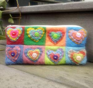 Patchwork Felt Hearts Cosmetics/Pencil Bag for Sale in Salt Lake City, UT