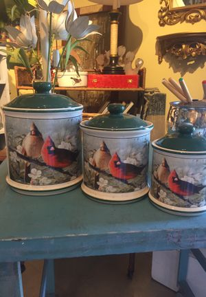 3 canisters kitchen Containers, flower sugar coffee perhaps, ceramic, Cardinals, let's get organized for Sale in West Palm Beach, FL