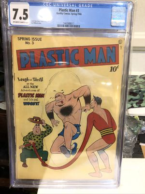 1946 PLASTIC MAN #3 COMIC BOOK CGC 7.5 INCREDIBLE HIGH GRADE GOLDEN AGE / TRADES WELCOME for Sale in Los Angeles, CA
