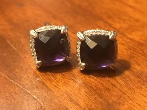 Chatelaine® Pavé David Yurman Bezel Earring with Black Orchid and Diamonds, 9mm for Sale in San Antonio, TX