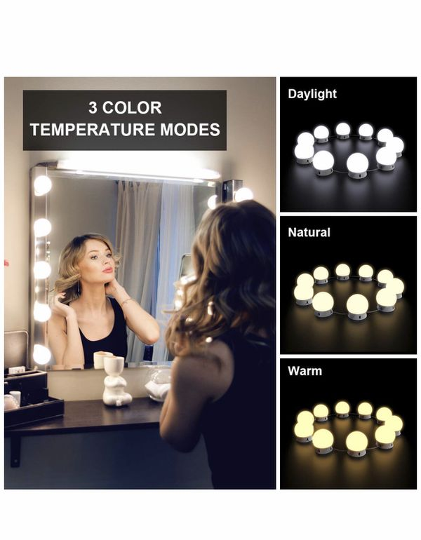 Nicewell Vanity Lights, Hollywood Style 3 Colors LED Makeup Vanity Mirror Lights Kit with 10 Dimmable Light Bulbs for Vanity Table and Bathroom Dress