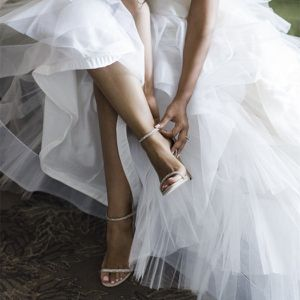 size 8.5 FSJ Champagne Wedding Shoes Rhinestone Stiletto Heels Bridal Sandals for Sale in Las Vegas, NV